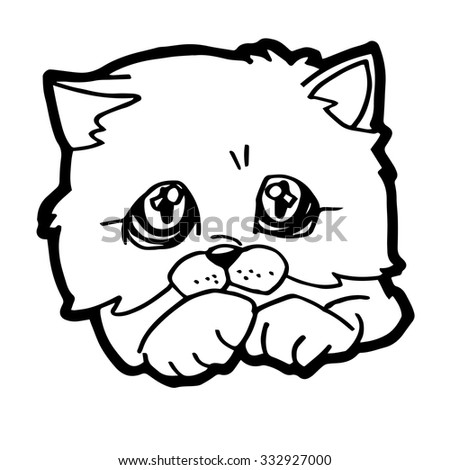 Cat Kitten Coloring Page Stock Vector Royalty Free 332927000