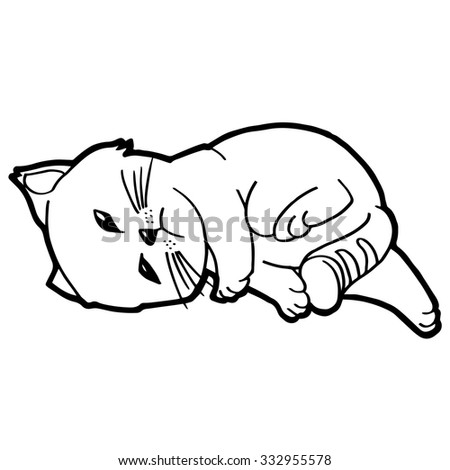 Cat Kitten Coloring Page Stock Vector Royalty Free 332955578