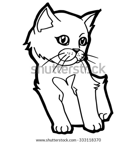 Cat And Kitten Coloring Page