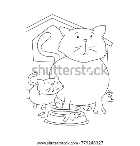 Cat Kitten Coloring Page Stock Vector Royalty Free 779248327