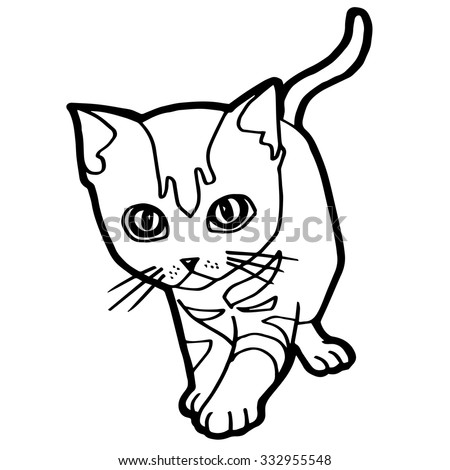 Cat Kitten Coloring Page Vector Stock Vector (Royalty Free ...