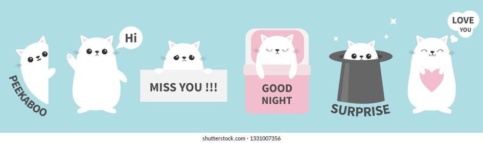 Cat kitten sticker emotion emoji icon set line. Miss you. Hi. Good night, love you. Funny head face. Cute cartoon character. Magic hat Heart Kawaii animal Baby card Flat design. Blue background Vector