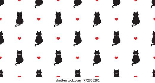 Cat kitten valentine day heart vector seamless pattern wallpaper background
