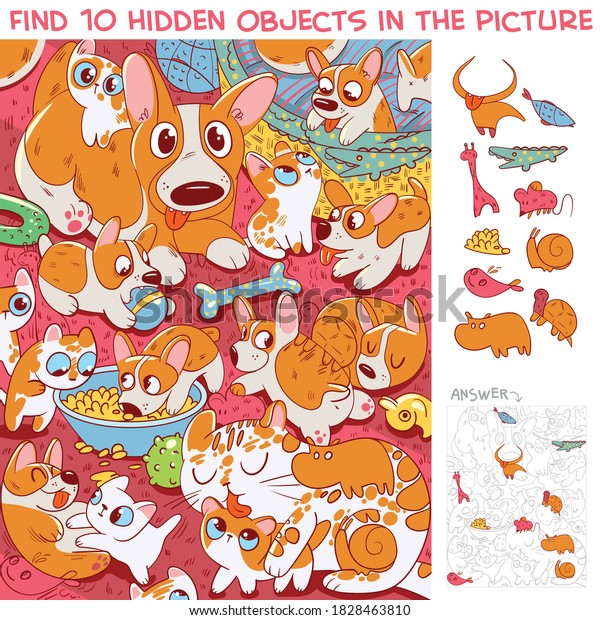 Cat with kittens and dog with puppies having fun together. Find 10 hidden objects in the picture. Puzzle Hidden Items. Funny cartoon character