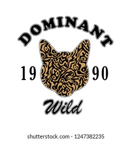 cat and leopard, dominant wild slogan for T-shirt printing design and various jobs, vector.
