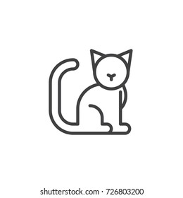 Cat line icon, outline vector sign, linear style pictogram isolated on white. Symbol, logo illustration. Editable stroke