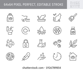 Cat litter line icons. Vector illustration include icon - sandbox, kitty tray filter, bag, biodegradable, natural outline pictogram for animal toilet absorber. 64x64 Pixel Perfect, Editable Stroke.