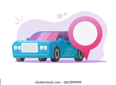 Cat location position map pin pointer marker vector flat illustration, concept of automobile vehicle parked search or find place, car-sharing service idea, gps navigation destination arrow modern