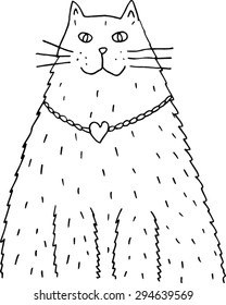 Cat with locket. Black and white hand-drawn illustration.