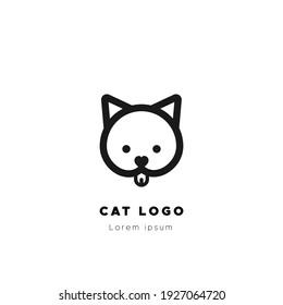 Cat logo. Black thick outline. Happy cat. Vector illustration, flat design