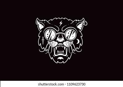 Cat logo illustration. Evil cat. Emblem design on black background