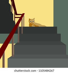 A cat looking down while sitting on the stairwell illustration.