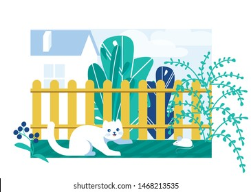 Cat Looking at Mouse in Garden near Fence with Plants Flat Cartoon Vector Illustration. Funny White Character Chasing Mice. Kitten Hunting Small Pet. Big Huse on Background. Bushes and Flowers.