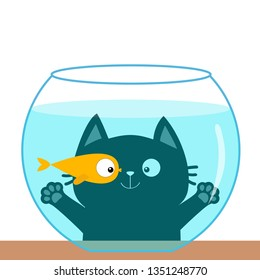 Cat looking through aquarium glass. Playing with gold fish. Big eyes. Swimming goldfish. Paw print hand. Cute cartoon kawaii funny baby character. Flat design. White background. Vector illustration