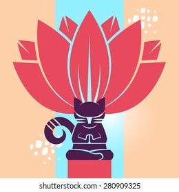 Cat In Lotus Position. Vector illustration.  Cat meditating in the lotus position with a big flower on the background.