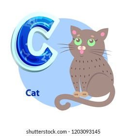 Cat lovely green eyed pet for C consonant presentation. Abecedarian vector flashcard for kids and children to remembering english letter and sound.