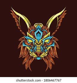 Cat Lynx Head Abstract Ornament Illustration