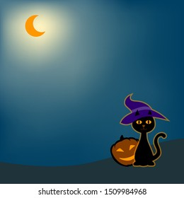 Cat with a magic hat and a pumpkin lantern with a face at night, sitting in the light of the glowing half moon in the background. The illustration offers space for text.