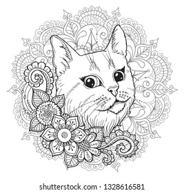 Cat Mandala Coloring Book Stock Vector Royalty Free 1328616581