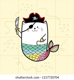 cat mermaid in pirate costumes for Halloween day