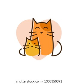 cat mother and baby kitty pet love logo with line art concept design illustration. pet shop logo.