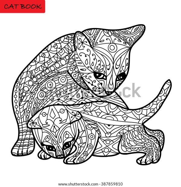 - Cat Mother Her Kitten Coloring Book Stock Vector (Royalty Free) 387859810