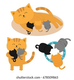 Cat mother laying on the floor feeding kittens. Father hugging two kitten Kitty hug. Animal family. Three kittens drinking milk from bowl. Cute cartoon character set. Flat White background. Vector