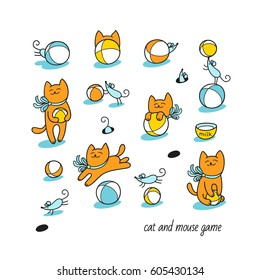 Cat and mouse game. Little ginger cat and funny blue mice play with toy balls. Set of cute animal characters and graphic elements for kids design in cartoon hand drawn style on white background.