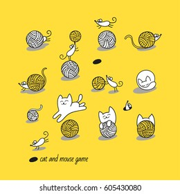Cat and mouse game. Little white cat hunt funny mice. They play with wool balls and hide. Set of cute animal characters and graphic elements for kids design in cartoon hand drawn style on yellow.