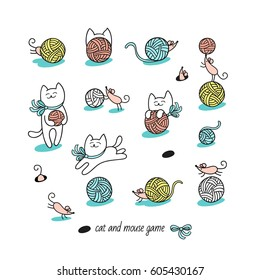 Cat and mouse game. Little white cat hunt funny pink mice. They play with wool balls and hide. Set of cute animal characters and graphic elements for kids design in cartoon hand drawn style on white.