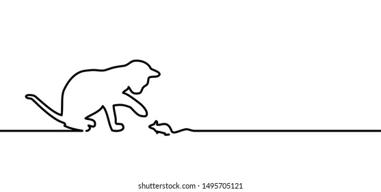 Cat Mouse line silhouette Animals footprint foot feet footsteps puss pussy mouse meow funny fun silhouette lucky walking paws canine comic vector icon bones bone sign pet lovers pet sitter clip art