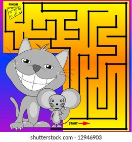 Cat and Mouse Maze, vector.