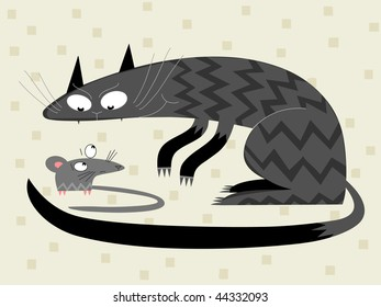 Cat and mouse - vector