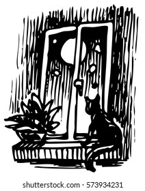 Cat near night window - hand drawn vector illustration, isolated on white