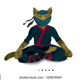 Cat ninja meditating. Yoga pose. Vector mascot warrior character.