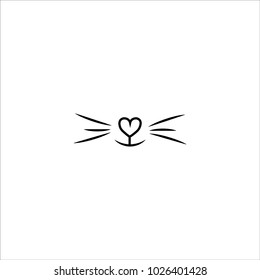 cat nose iheart icon vector