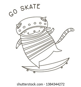Cat on a skateboard illustration. Cute hipster animal on a skate board. Adult coloring book page. Greeting card.