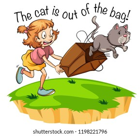 The cat is out of the bag illustration