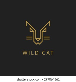 cat outline logo simple vector image line art abstract luxury wild minimalistic geometric