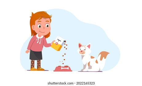 Cat owner feeding her pet filling bowl from dry food box. Girl kid taking care of happy animal pet. Cute domestic kitten sit waiting for food. Smiling cartoon child charater flat vector illustration