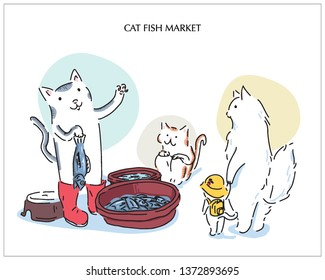 The cat owner is selling fish to cat customer. hand drawn style vector design. a personification illustration.