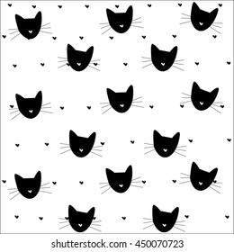 cat pattern heart pattern black vector illustration