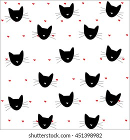 cat pattern hearts pattern vector illustration