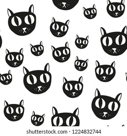 Cat pattern. Seamless vector pattern. Cute cats background.