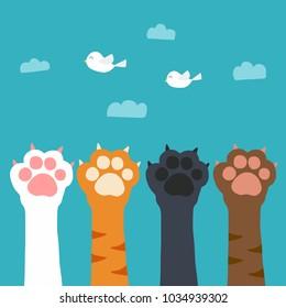 Cat paw catch bird on sky cartoon vector illuatration