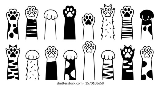 Cat paw. dog paw. cat breed vector doodle illustration