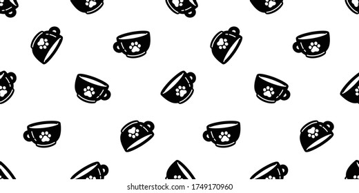 cat paw dog footprint seamless pattern coffee cup kitten vector tea milk glass calico animal pet scarf isolated repeat background cartoon tile wallpaper illustration doodle black design