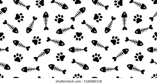 cat paw fish bone seamless pattern vector fish dog salmon repeat scarf isolated cartoon illustration tile background repeat wallpaper