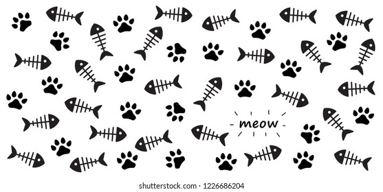 Cat paw fish bone. vector printFish icon sea ocean footsteps foot feet hound dog dogs paw woof puppy foot print footprints fun funny paws silhouette sign signs foot walks walking footmark Fishbone
