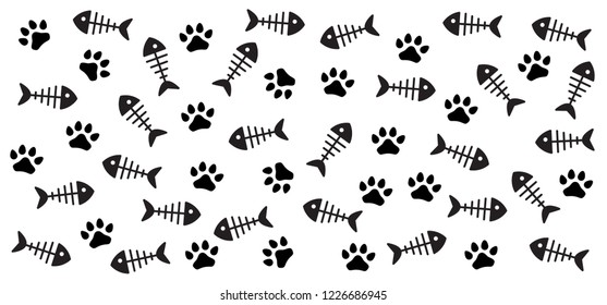 Cat paw with fish bone vector print Fish icon sea ocean footsteps foot feet hound dog dogs woof puppy foot print footprints fun funny paws silhouette sign signs foot walks walking footmark Fishbone